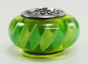 Pandora Sterling Silver Green Zig Zag Charm Bead # 790616 Discontinued