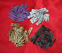 50 MINI WOODEN 25 mm SPRING CLOTHES PEGS GOLD BLACK PURPLE CRAFT  SCRAP BOOKING