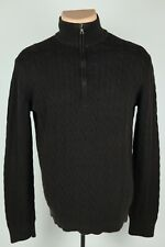 Banana Republic Mens Medium Dark Brown Cotton Cable Knit Quarter Zip Sweater