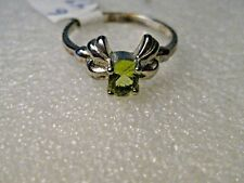 Sterling Plated  Peridot ring, Size 6, Created Stone