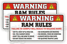 Ram Rules Warning Stickers Funny Safety Instructions Labels Decals Rebel Dodge