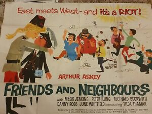 Rare Vintage 1950s cinema film poster Friends and Neighbours Arthur Askey