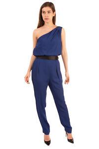RRP €350 HALSTON HERITAGE Jumpsuit Size 10 / L Belted Draped One Shoulder