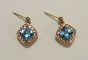 Le Vian 14K Strawberry Gold Sky Blue Topaz Earrings - Beautiful!