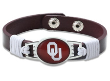 New Oklahoma Sooners Leather Adjustable Bracelet, Gift for Her Mom Him Dad