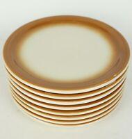 Vintage Shenango China Anchor Hocking Restaurant Ware Brown Dinner Plates Set 8