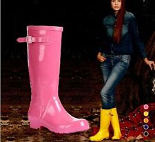 Women's Candy Colors Rain Boots Shoes Tall Canister Mid Calf Boots Overshoes