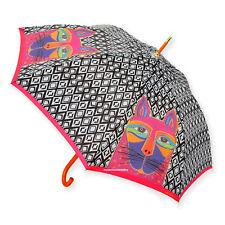 Laurel Burch  Stick Umbrella Auto Open Whiskered Fuchsia Cat Large Canopy NEW