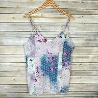 Skies Are Blue Women's Tank Top Pastel Floral Print Double Strap Size Large