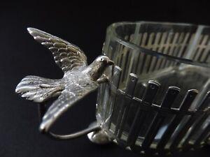 ⚜️ JUGENDSTIL TAUBE DOVE PIGEON JARDINIERE KRISTALL GLAS ART NOUVEAU WMF ÄRA