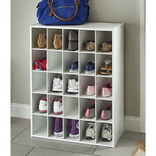 White Laminate 25 Storage Cubes Home Closet Organization Storage Shelves Shoes