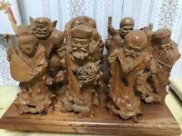 Japanese antique Wood carving Seven Lucky Gods ? 15cm (about 5.9in) Hotei