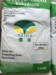CITRIC ACID ANHYDROUS BP/FCC 100% FOOD GRADE 30-100 mesh fine 500g 1kg 25kg