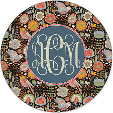 Monogrammed Mouse Pad - Retro Floral Woodlands Birds Personalized Gift Monogram