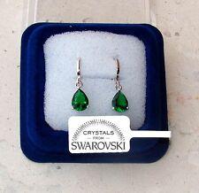 Orecchini Goccia oro bianco 18K zirconi cristalli swarovski veri SW7/4 verde