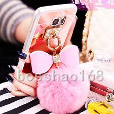3D Girls' Mirror Bling Diamond pink fur ball bow Tassel Phone Soft Case Cover