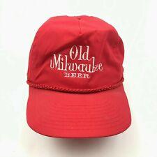 VINTAGE Old Milwaukee Hat Cap Strapback Red Trucker Rope Adjustable Beer 80s USA