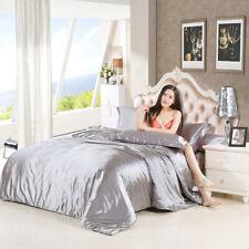 Fest Farbe Satin Seide Bettwäsche Bettbezug-Set, California King Grau