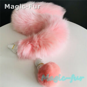 70cm Pink Real Fox Fur Tail Ball Plug Funny Toys Adult Games Cosplay