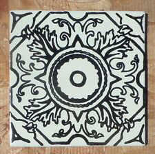 "10~Talavera Mexican 4"" tile kiln fired hand painted BLACK WHITE Compass vintage"