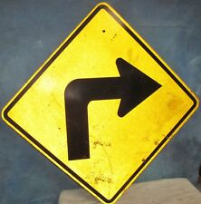 Vtg Used Hsi Right Turn/Curve Arrow Aluminum Road Sign ~ 24 x 24 ~ S397