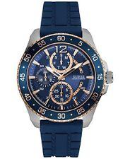 GUESS  Men's Blue Silicone Strap Watch 46mm U0798G2