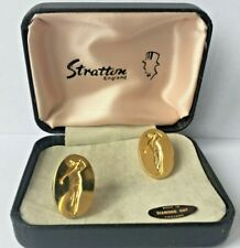 Vintage Stratton Boxed Gold Plated Golf Cufflinks