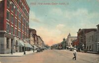 Vintage Postcard 9902 First Avenue Cedar Rapids, IA Iowa Postmarked 1913