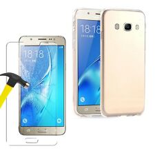 Samsung Galaxy J7(2016) - Ultra Thin Crystal Clear Gel Case Cover+Tempered Glass