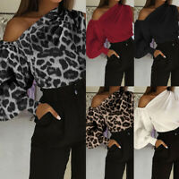 Summer Women Baggy One Shoulder Blouse Puff Sleeve Holiday Top Leopard Shirt Tee