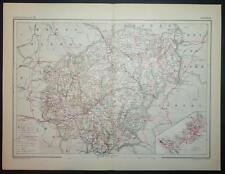 1891 Antiguo impresión mapa color de Corrèze Tul Francia Francesa Carta