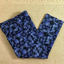Style Co Pants Womens Plus 16W Short Blue Floral Slacks Trousers Stretch Waist