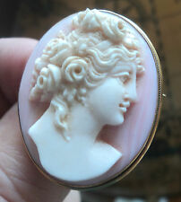 Vintage Attractive 15ct Gold Hard Stone Cameo Brooch and Pendant  - Young Girl