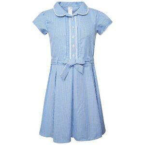 Girls School Gingham Dress Cotton Blend School Pleated Summer Dress Check Defect