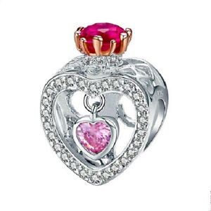 Love Rainbow Heart Friends Mom I Do Charm Pendant DIY 925 Bracelet Free Gift Bag