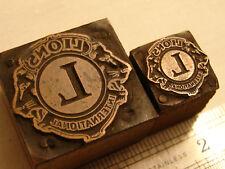 Vintage Printers Block  - Logos -  Lions International  Club  Pair