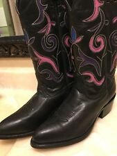 Durango Black and Pink Leather Cowboy Boots Women's Size 7.5 Style RD 1519