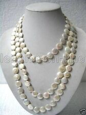 """Beautiful 12MM Natural White Coin Freshwater Pearl Necklace 33"""""""
