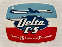 Vintage 1950's Delta and Chicago & Southern Airlines Luggage / Baggage Label
