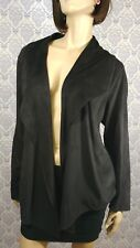 Penningtons Womens Plus Size 0X Open Front Jacket Black Soft Brushed Suede-like