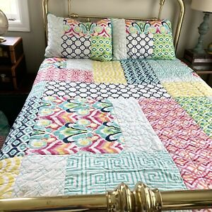 Pottery Barn Teen Multi Colors Palm Springs Patchwork Full Queen Quilt & 2 Shams