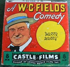 Vintage 8mm Castle Films Comedy # 817 W.C. Fields in Hurry Hurry Rare with box