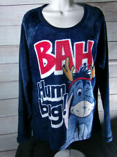 Disney Women's Eeyore Large  Fleece Pajama Top (Hug Me )