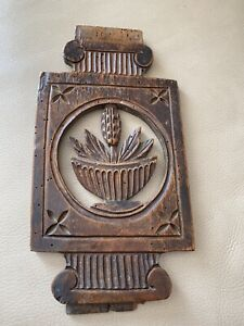 Antique French Carved Panel Wood Wooden Wheat Bakery 1880s 1890s 19th Century