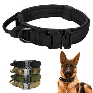 Tactical Dog Training Collar Heavy Duty with Handle Military K9 Medium Large Dog