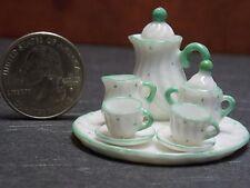 Dollhouse Miniature Tea Set White Green 8pc Teapot 1:12 scale F59 Dollys Gallery