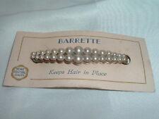 VINTAGE WHITE PEARL HAIR BARRETTE ON ORIGINAL CARD, CIRCA 1950