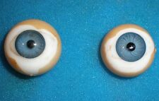 """pair of old glass eyes blue 0.83"""" f. turtle-mark"""