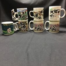Sherwood Brands 2002 Cow Coffee Mugs Russ Wisconsin Others Lot Of 7 Pasture Farm