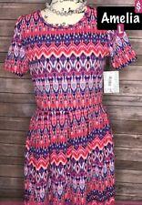 LuLaRoe Large Amelia Dress * Pink Blue Tie Dye Ombré Dipped NWT LG